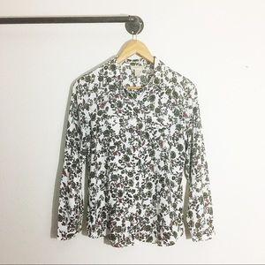 Loft Petites Floral Button Down Shirt Womens Small